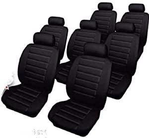 Car Seat Covers Leatherlook - Set - Black - Volkswagen Sharan (2000-2010)