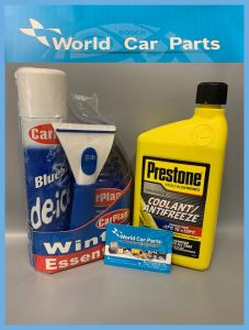 Winter Car Pack- De Icer 300ml, Windscreen Wash 500ml, Antifreeze 1L & Ice Scraper
