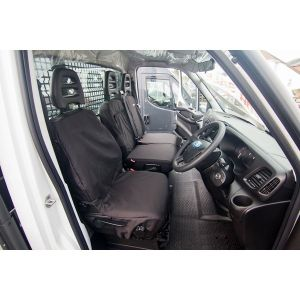 Van Seat Cover - Single Driver and Double Passenger Front Set - Black -  Iveco Daily 2014 Onwards