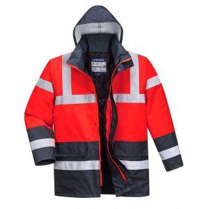 Hi-Vis Contrast Traffic Jacket - Red/Navy - Small