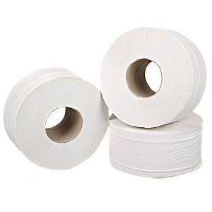2 Ply White Mini Jumbo Toilet Rolls - 150m - Pack of 12
